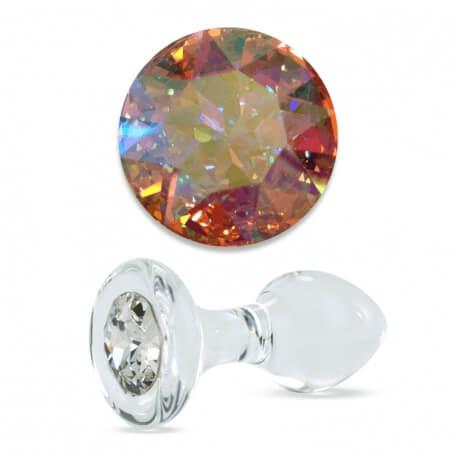 Crystal Delights Aurora Borealis Glass Buttplug