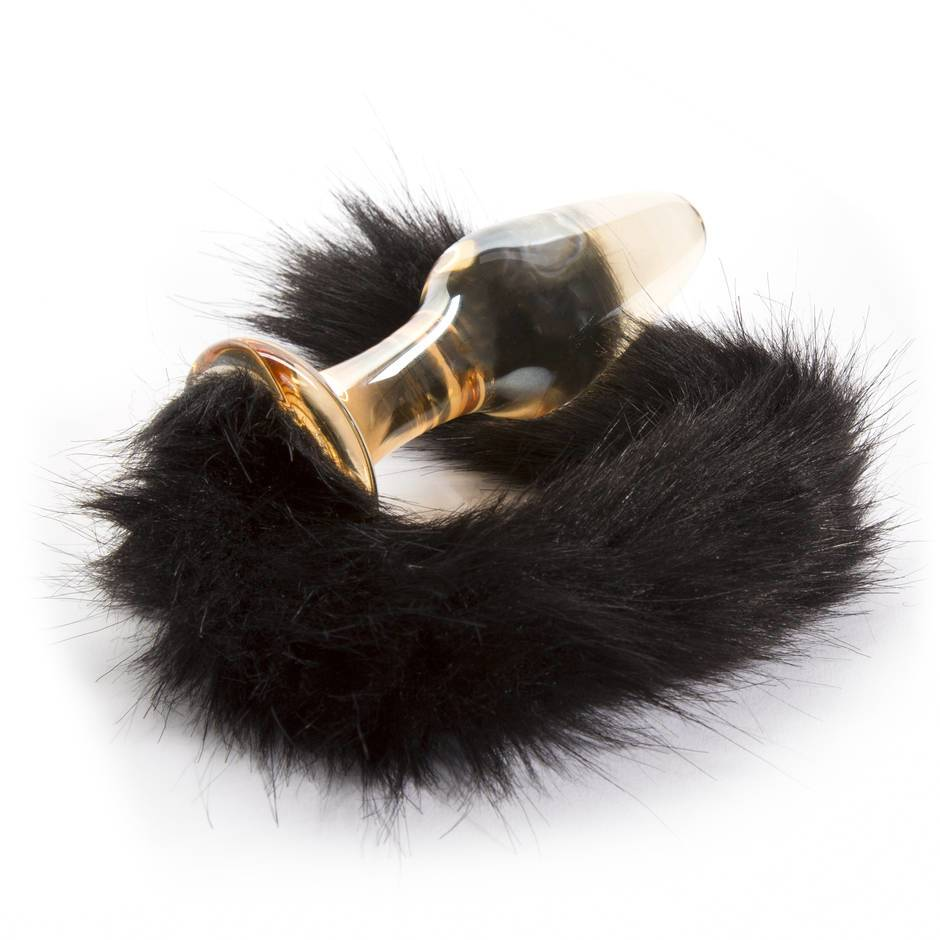 Glass Buttplug with Fake Fur Tail