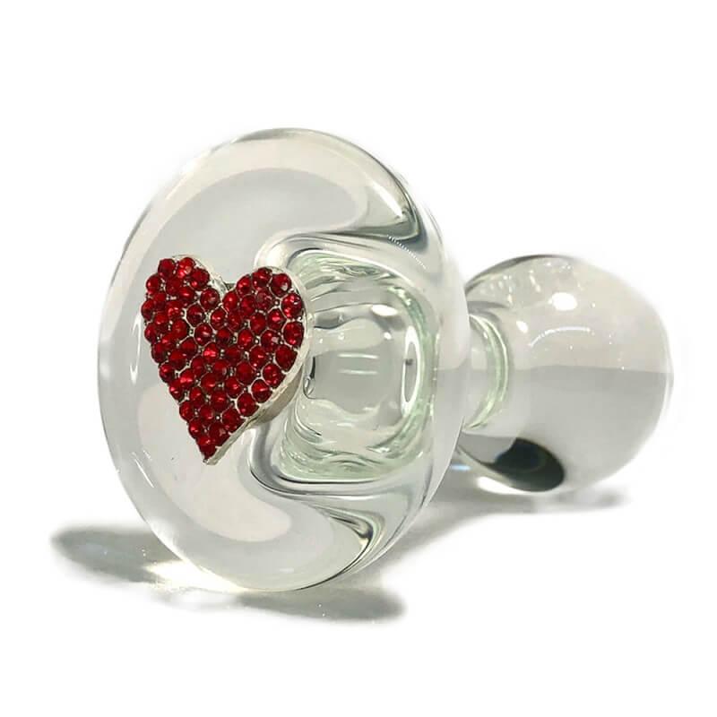 Red Heart Glass Anal Plug